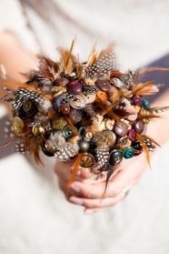 feather and button bouquet, autumn wedding, alternative bouquet