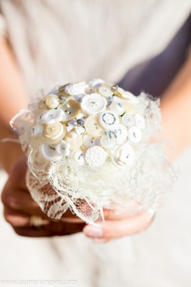 flower girl, button posy, button bouquet