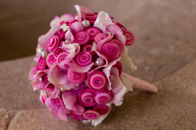 pink button bouquet, button bouquets, wedding