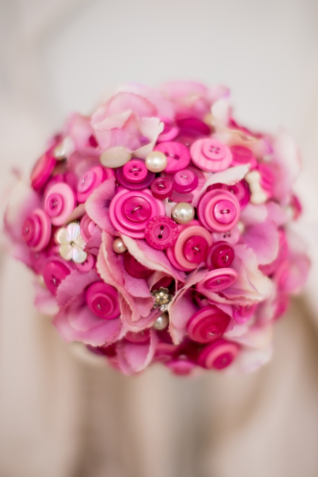 pink button bouquets with flowers, hydrangea bouquet