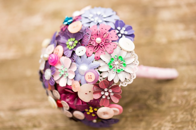 pink brooch and button bouquet, summer wedding