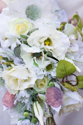 white and green silk bouquet