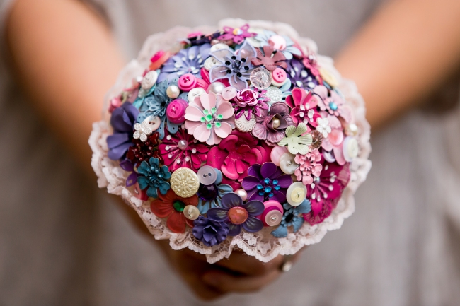 pink button and brooch bouquet